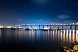 The San Diego Coronado Bridge at Night